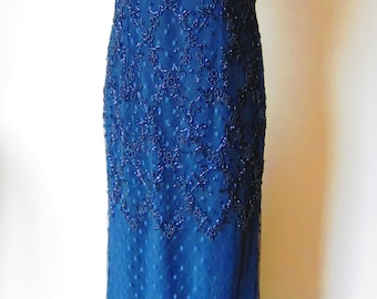 Vintage Black Beaded Gown by B'Zar