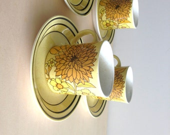 Sunny Irish Tea Set - 8 cups/8 Saucers, 8 Salad Plates made by Brendan Erin Stone in Arklow, Ireland