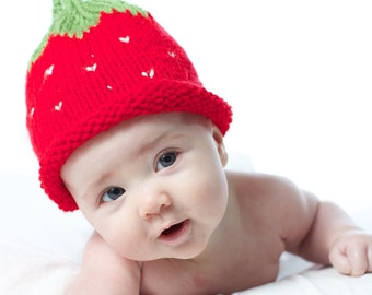 Strawberry Knit Baby Hat - Ready to Ship