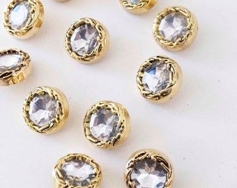 Vintage style 1990s GLAMAZON Gold and Diamond Buttons 15 pieces 3.5cm 1 1/2 inches - excellent for earrings