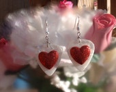 Sparkly Red Heart Earrings, Sweetheart Guitar Pick Jewelry, Custom Color, Pierced or Clip On, Dangling Large Valentine's Day, Bridesmaid