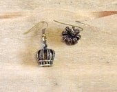 Crown Earrings -  Gold Antique Style Crown Jewels - Royal  Quirky Jewellery - Under 10 Pounds