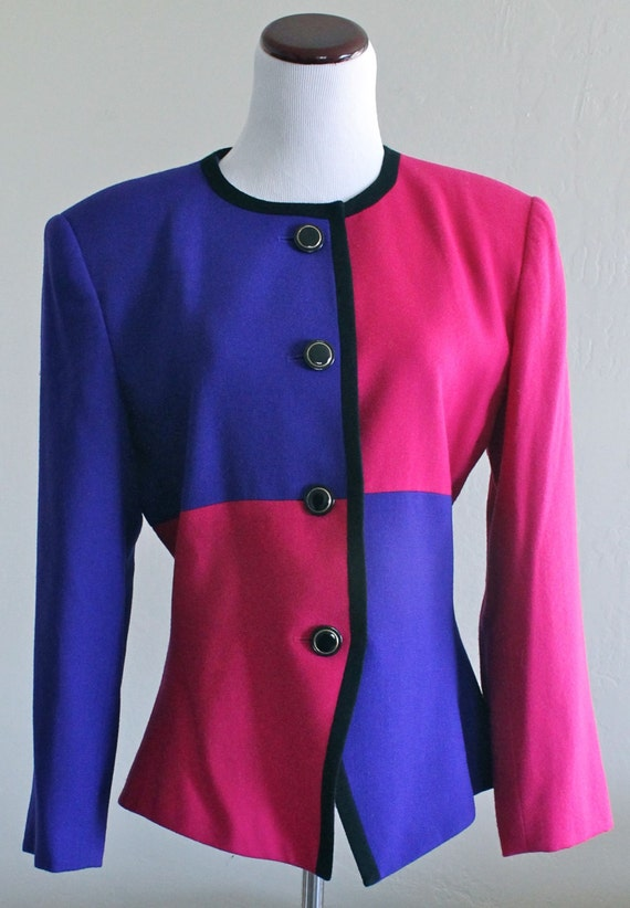 80's Pink and Purple Colorbock Blazer by Kasper Size 10 Large XL