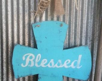 BLESSED Large Handpainted Distressed Wood Cross Door or Wall Hanger
