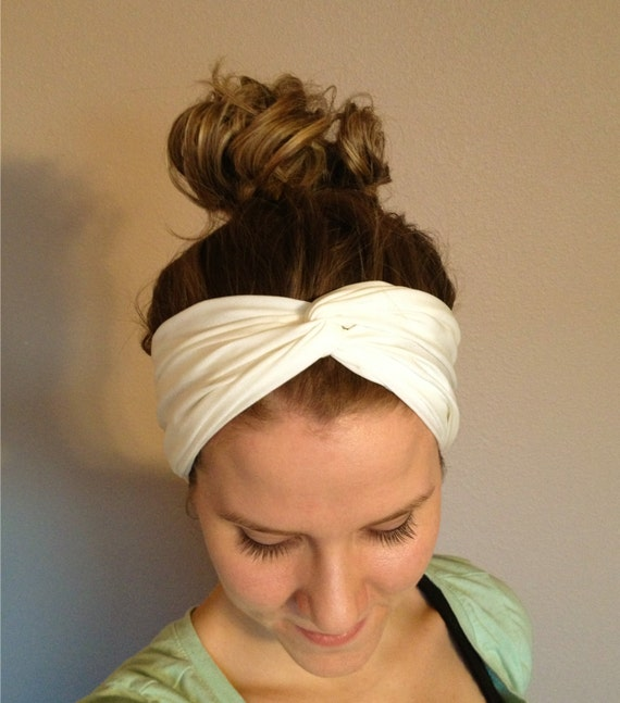 White Twisted Head Wrap, Turban Headband, Workout Headband, Fabric Head Wrap, Turband, Elastic Headband