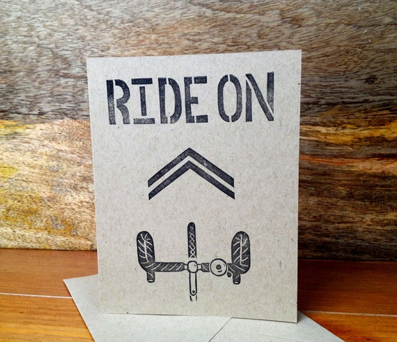 Block Print Greeting Card - Bike - Chevron - Ride On - Black on Natural Brown - Hand-stamped on Recycled Paper