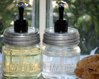 OUR BEST SELLER - Two (2) Mason Jars with Silver Metal Lid and Black Soap Pump - Soap Dispensers - Rustic Housewarming Gifts Under 30