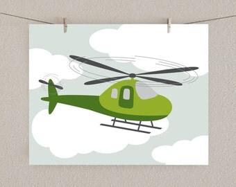 Airplane Art - Baby Boy Nursery Print Helicopter -  Green & Gray, 11x14