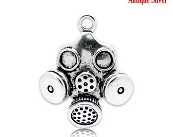 Pendant: Gas Mask, Silver Tone, Set of 5, Great for Doomsday Preppers or Cold War Buffs, SLT094