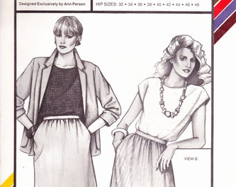 Stretch and Sew 428 Vintage Pattenr Womens Side Pocket A Line Skirt - Hip Sizes 32-48 UNCUT