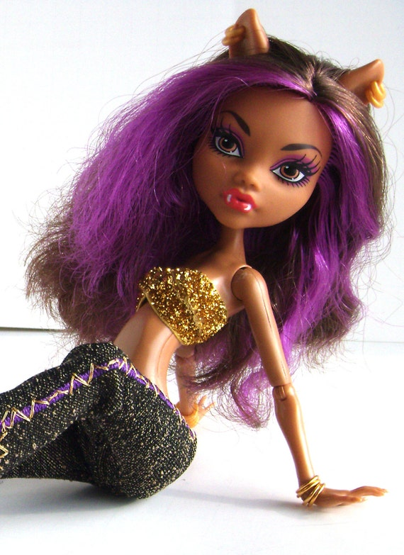Gold sparkling bandau bra top monster high clawdeen wolf - Clawdeen wolf pyjama party ...