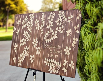 Wooden Guest Book Birch Tree - 175, 200 signatures