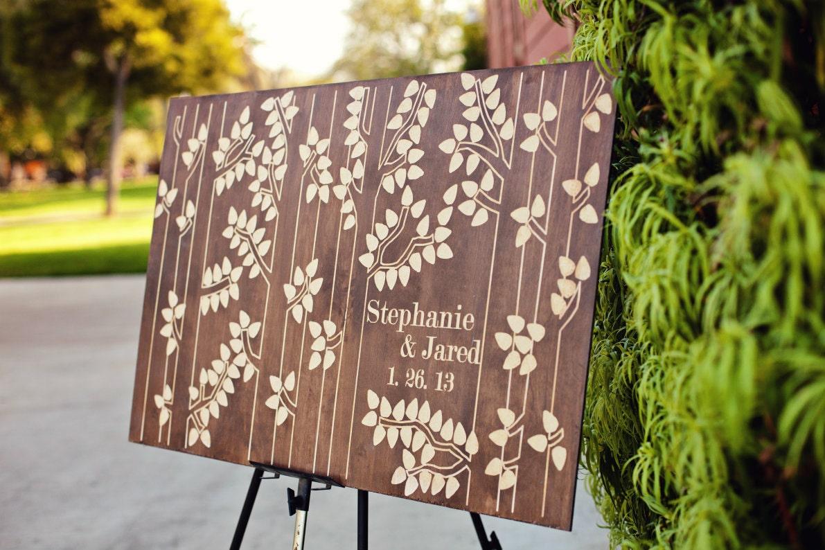 Wooden Guest Book Birch Tree 175 200 signatures