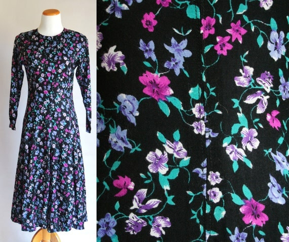 CLEARANCE Vintage Midi Dress - M - Black with Pink and Teal Floral
