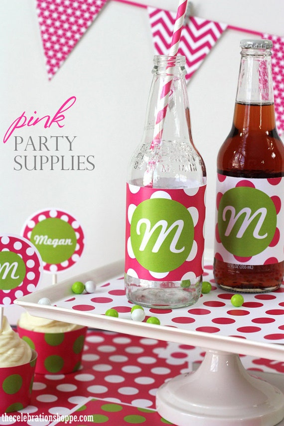 Pink polka dot party supplies in 21 color combo 8 font for Polka dot party ideas