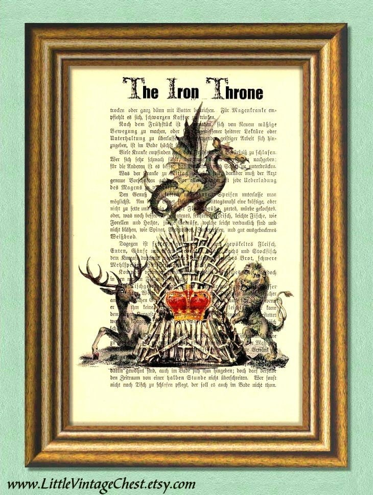 The iron throne game of thrones dictionary art print wall art for Iron throne painting