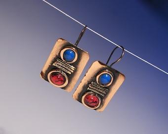 Mixed metal jewelry earring-metalwork-handmade copper earrings-mixed metal jewelry copper-