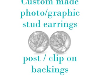 Custom Earring, Custom Stud Earrings, Custom Photo Jewelry, Made to Order, Custom Gift, Stud Earrings, Stud Earings, Clip On Earrings