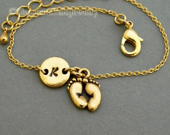 Baby feet charm bracelet, antique gold, initial bracelet, friendship, mothers, adjustable, monogram