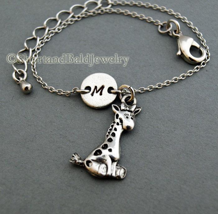 Giraffe Charm Bracelet: Cute GIraffe Charm Bracelet Baby Giraffe Antique Silver