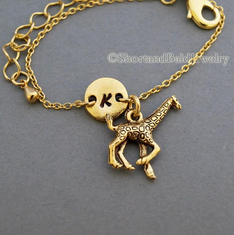 Giraffe Charm Bracelet: Small Giraffe Charm Bracelet Baby Giraffe Antique Gold