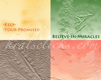 Digital Photograph BELIEVE IN MIRACLES, One Photograph four panels- Forgive-Keep Your Promises-Faith Hope Love-Original Home Office Wall Art