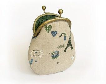 Purse Paris Style, Eiffel Tower Cosmetic Bag, Linen Handbag with Kisslock