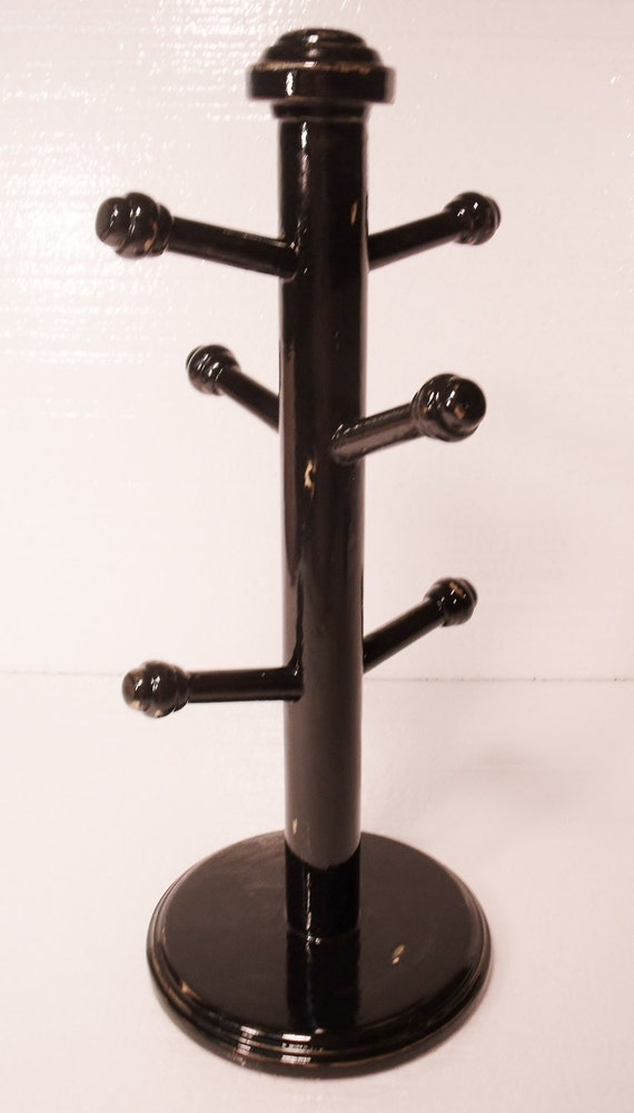 Reserved For Erika Distressed Black Mug Tree By Upcycledmix