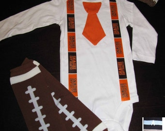 CLEVELAND BROWNS inspired football outfit for baby boy - tie bodysuit with suspenders, crochet hat, leg warmers
