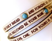 The Lord's Prayer.... Daily Reminder Leather wrap bracelet