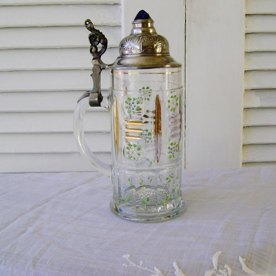 German 1800's Jewel Top Hand Painted Glass Stein Sachsische Glasfabrik  ZUR ERINNERUNG - the memories