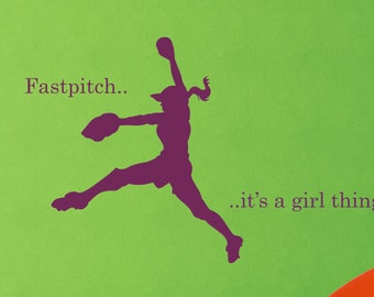 Girl Fastpitch Softball Vinyl Wall Decal - Softball Vinyl Decal - Girls Room Decor - Teenager Decor- Sports Theme