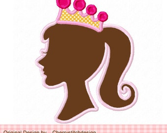Princess Girl Silhouette Machine Embroidery Applique Design- 4x4 5x5 6x6