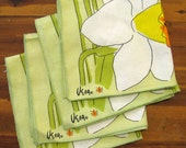 Vintage Vera Neumann Ladybug  Daffodil Napkins, Set of 4 - FourMartiniLunch