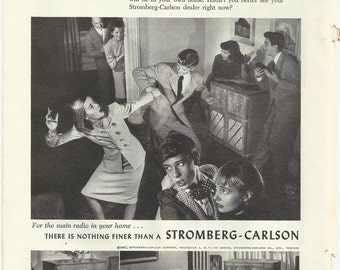 Stromberg Carlson Radio Record Player Original 1947 Vintage Print Ad Black & White Photo Teenagers Dancing at Home Parents Watching