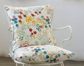 2 Summer flowers Cushion covers, yellow, turquoise, orange, purple flowers printed on Linen, Original textile design by Dikla Levsky