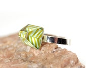 Chevron Chartreuse and Blue Glass Ring  - Fused Glass and Sterling Silver with Stripes - Summer Colors No. 73