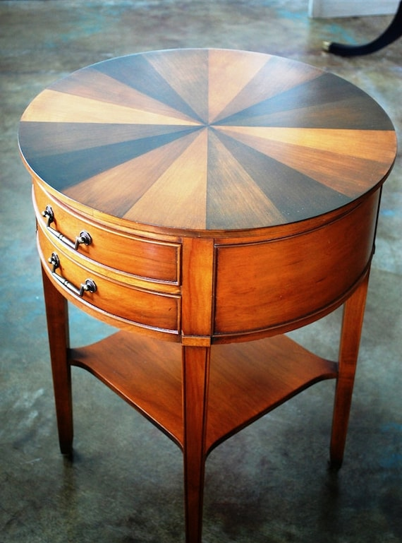 Vintage hekman round side table small table drawers for Small side table with drawers