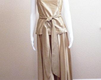 1970s Gold Metallic 2 Piece Dress - Small Medium Formal Sleeveless Belted Ensemble