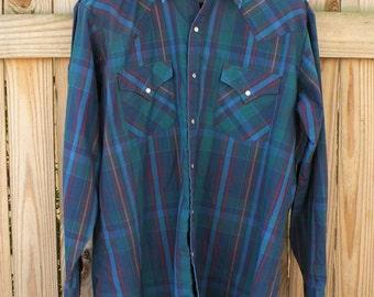 Vintage Ely Cattleman Blue Plaid Western Shirt  Men Sz Large