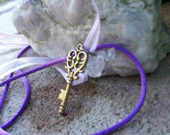 Purple Cord White Ribbon Necklace With Bronze Key and Clear Quartz Chips