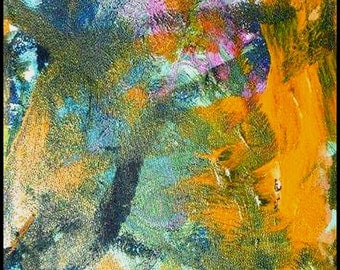 Original Painting - Abstract Painting with Yellow, Blue & Magenta by David Lawter