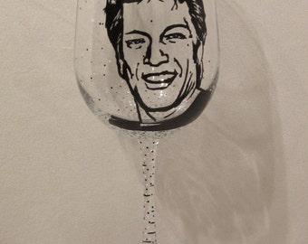 Hand Painted Wine Glass - JON BON JOVI