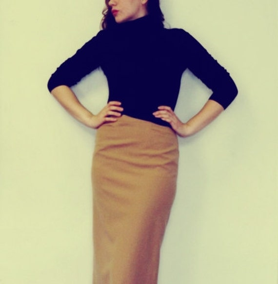 Vintage 1950s Mad Men Pencil Skirt Long Classic Tan Skirt
