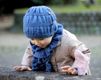 Knitting Pattern Hat and Scarf Frill Set (Toddler, Child, Adult sizes)