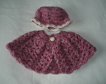 Crochet Doll Clothes, 18 inch Doll clothes, Madium Alexander Doll, MyLife,  American Girl, Doll Cape and Hat