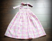 Custom Pink Plaid Seersucker Smocked Maxi Dress by Steady As She Goes; white yellow pastel toddler girl 2T 3T 4 5 6 7 hippie halter sundress
