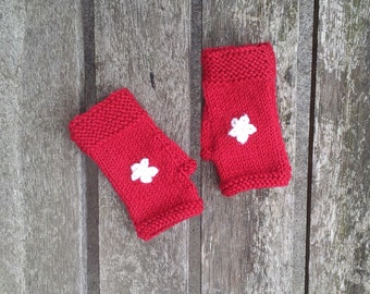 Red fingerless gloves - girls red gloves - childrens gloves - white flowers wool mittens