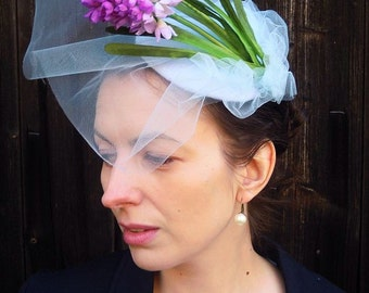 """Hyacinth Fairy  - pale blue 5.1"""" retro fascinator derby or coctail mini hat with hyacinth flowers and veil"""