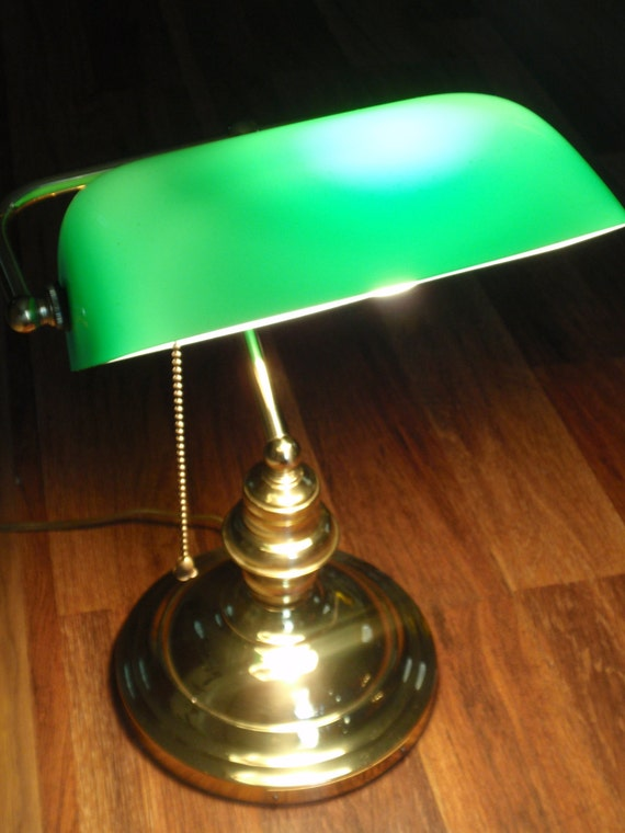 Home Decor Vintage Green Glass Banker's Lamp by TheUrbanDen